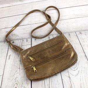 HOBO International Gold Crossbody Purse Leather